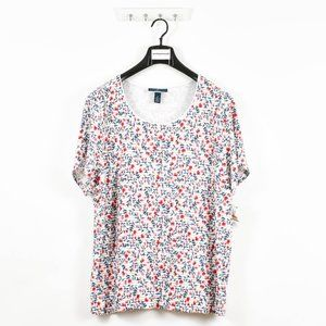 Women's Floral Boat Neck Short Sleeve T-Shirt